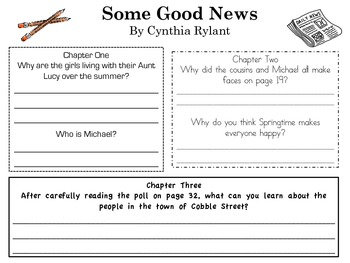 "Guided Reading / Lit Circle / Book Club - ""Some Good News"" by Cynthia Rylant"