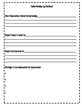 Guided Reading Log For Elementary Grades