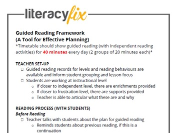 Guided Reading Look-For Checklist