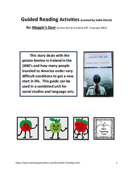 Guided Reading Activities for Maggie's Door, a book by Patricia Reilly Giff
