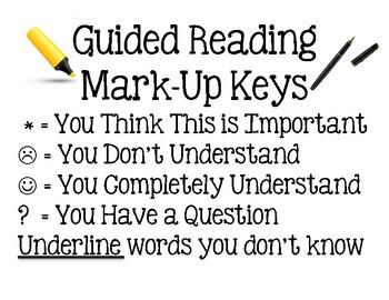Guided Reading Mark-Up Key