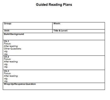 Guided Reading Masters: Templates for Planning and Data Collection