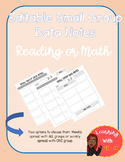 Guided Reading/Math Data Notes