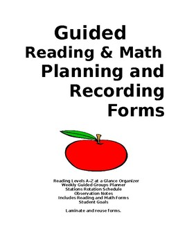 Guided Reading & Math Planning and Recording Forms