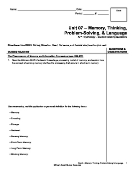 Guided Reading - Memory, Thinking, Problem-Solving, & Language