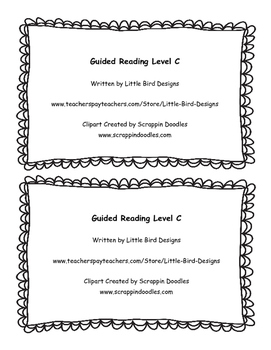 Guided Reading Mini Book Level C With Lesson Plan and Activities