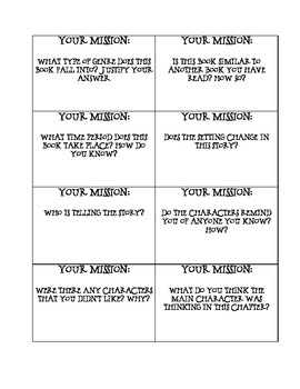 Guided Reading Mission Cards