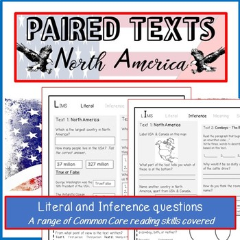 Reading Passages and questions-NORTH AMERICA. Paired texts: Cowboys & Presidents