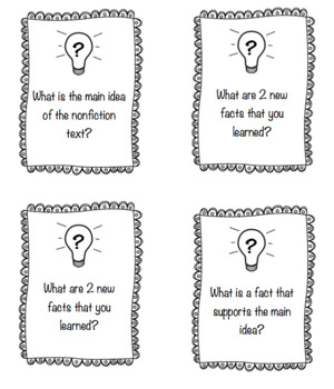 Guided Reading: Nonfiction Question Cards