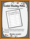 Guided Reading Note Sheet