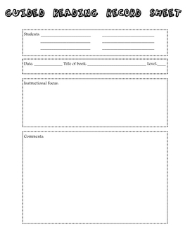 Guided Reading Note Taking Sheet