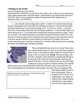 Guided Reading/Notes: Imperialism, Alliances, and Leading into WWI