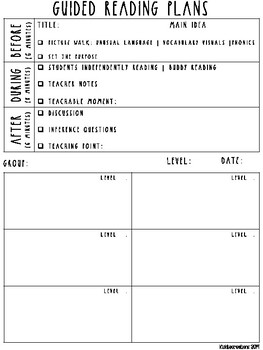 Guided Reading Notes Template - Rae Dunn Inspired