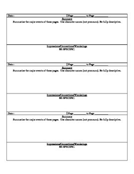 Guided Reading Novel Graphic Organizer