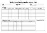 EDITABLE Guided Reading Observation Checklist