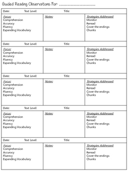 Guided Reading Observation Form