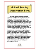 Guided Reading Observation Notes / Checklist based on DRA