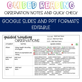 Guided Reading Observations