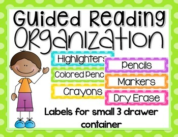 Guided Reading Organization EDITABLE {Labels for Small 3 Drawer Container}