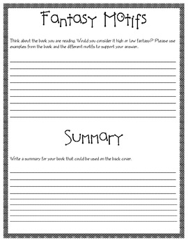 Guided Reading Packet - Fantasy Genre