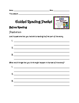 Guided Reading Packet (fiction) ANY BOOK!