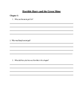 Guided Reading Packet- Horrible Harry and the Green Slime