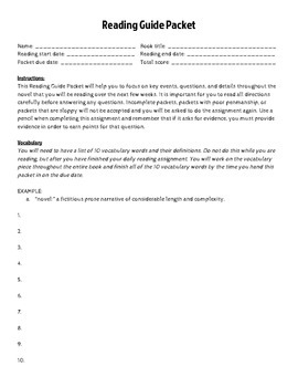 Guided Reading Packet for ANY book!