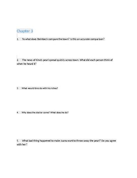 """Guided Reading Packet for """"The Pearl"""" by John Steinbeck"""