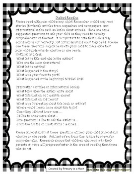 Guided Reading Parent Note