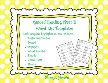 Guided Reading Part 1 -- Word List Templates