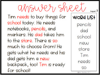 Guided Reading Passage Puzzles- August