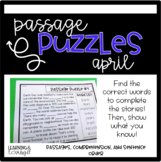 Guided Reading Passage Puzzles- April Cloze Reading