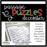 Guided Reading Passage Puzzles   Cloze Reading   Google Slides   December
