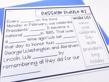 Guided Reading Passage Puzzles- February