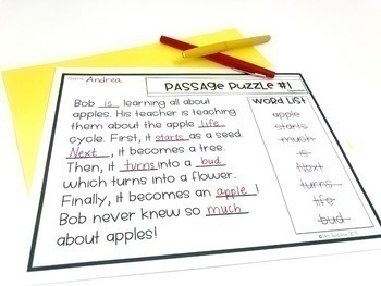 Guided Reading Passage Puzzles- GROWING BUNDLE
