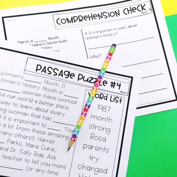Guided Reading Passage Puzzles- March Cloze Reading