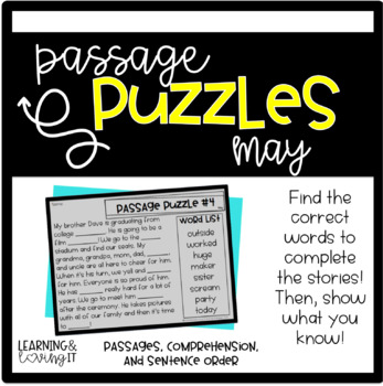 Guided Reading Passage Puzzles- May Cloze Reading