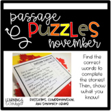 Guided Reading Passage Puzzle  Cloze Reading   Google Slides   November   Seesaw