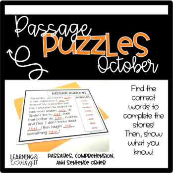 Guided Reading Passage Puzzles- October