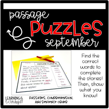Guided Reading Passage Puzzles- September