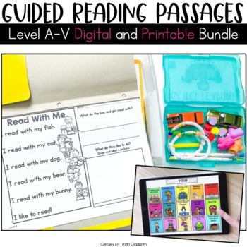 Guided Reading Passages Bundle: Level A-V {Digital and Regular Versions}