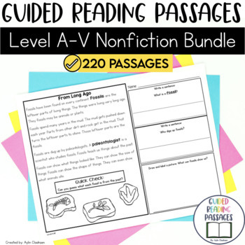 Guided Reading Passages GROWING Bundle: Level A-V (Non Fiction)