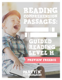 Reading Comprehension Passages: Guided Reading Level H Pre