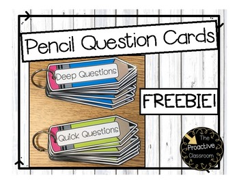 Guided Reading Pencil Question Cards--FREEBIE!