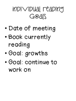 Guided Reading Personal Goal Tracker