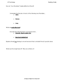 Guided Reading: Personality Unit for Myers' Psychology for AP