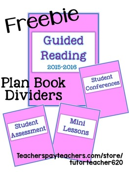 Guided Reading Plan Book Dividers