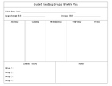 Guided Reading Plan Sheet