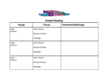 Guided Reading Plan Template