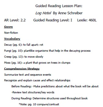 "Guided Reading Plan for ""Log Hotel"" by Anne Schreiber"